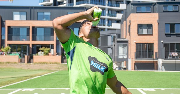 Raiders players try lime flavoured Canberra Milk