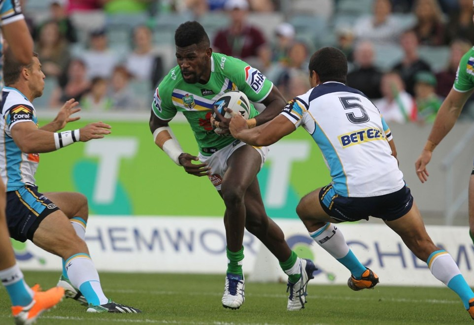 Photo by Colin Whelan copyright © nrlphotos.com :   Edrick Lee tries to split Zillman and Mead     NRL Rugby League, Telstra Cup Round 3 Canberra Raiders v Gold Coast Titans at Canberra Stadium, Friday March 23rd  2014.