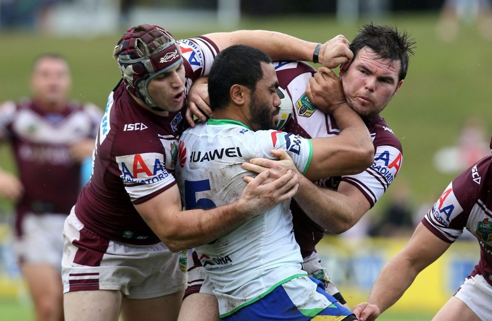 Digital Image Grant Trouville © nrlphotos.com :  Bill Tupou wrapped up Buhrer and Lyon : NRL Rugby League Round 8 - Manly Sea Eagles v Canberra Raiders at Brookvale Oval sunday the 27th April 2014.