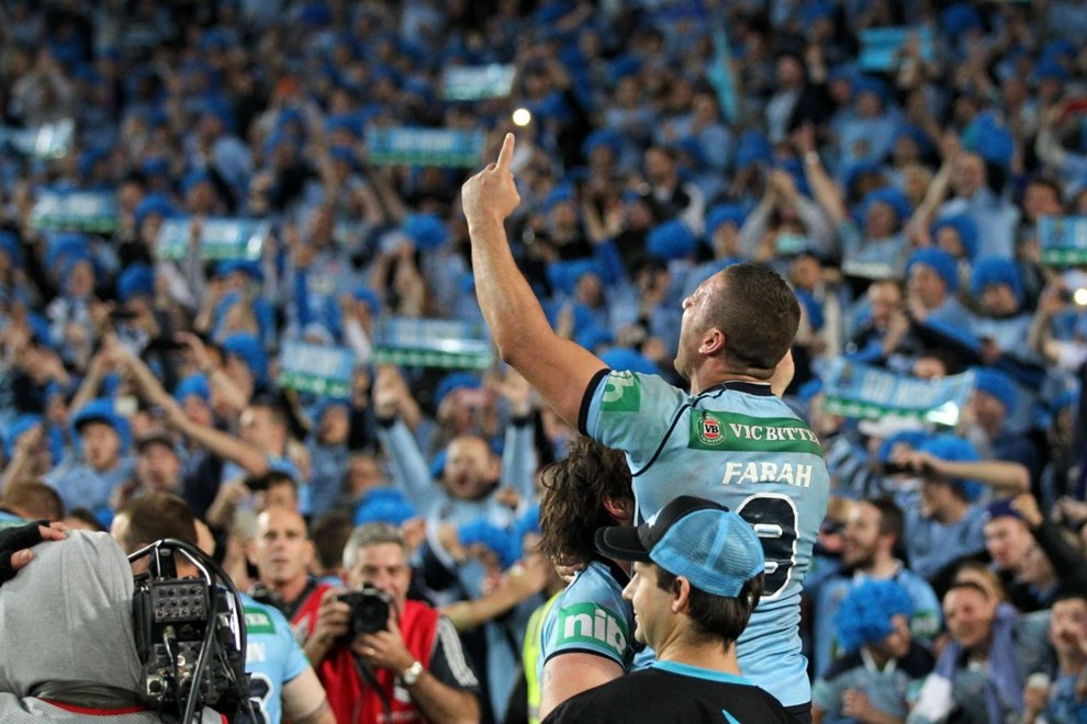 Digital Image by Brett Crockford © nrlphotos.com:	     Robbie Farah celebrates the win  NRL, Rugby League, State of Origin 2, @ ANZ Stadium, Homebush, NSW, Wednesday June 18th, 2014.