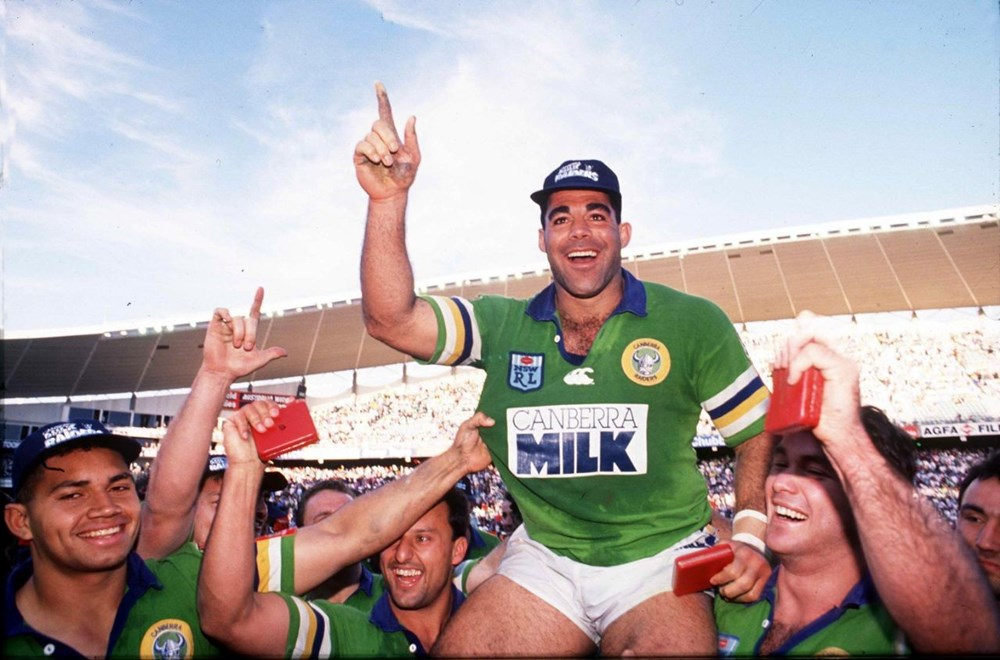 Mal Meninga - Canberra Raiders after the 1994 NSWRL Grand Final. Photographed on colour trans by Action Photographics @ 1994