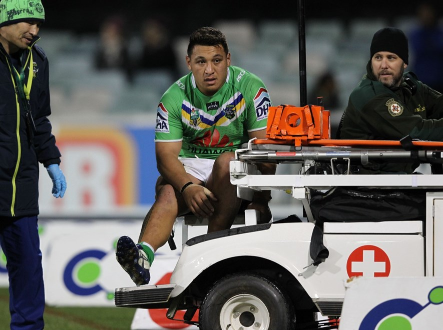 Photo by Colin Whelan copyright © nrlphotos.com :       Josh Papalii off on the medicab                        NRL Rugby League, Round 13 Canberra Raiders v Brisbane Broncos at Canberra, Monday June 9th 2014.