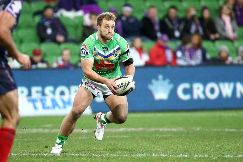 Digital Image by Brett Crockford © nrlphotos.com :	    Kurt Baptiste   NRL, Rugby League, Round 19,  Melbourne Storm v  Canberra Raiders @ AAMI Park, Melbourne, VIC, Saturday 19th July, 2014.