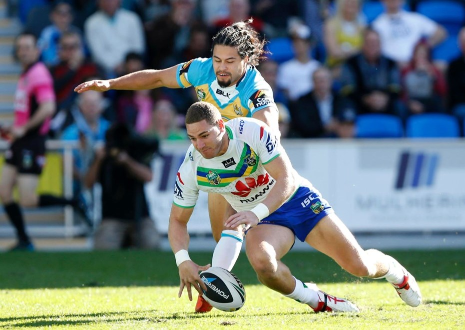 Digital Image Charles Knight nrlphotos.com : Brenko Lee scores : Gold Coast Titans v Canberra Raiders at Cbus Stadium Sunday 13h of July 2014.