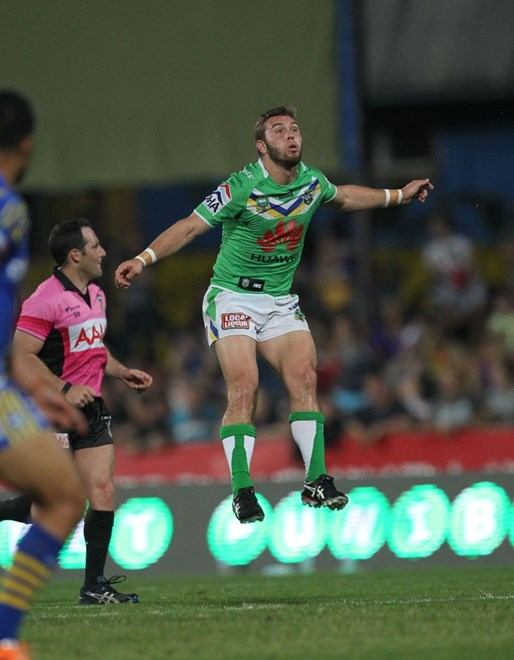 Photo by Colin Whelan copyright © nrlphotos.com :    Mitch Cornish levitates                           NRL Rugby League, Round 22 Parramatta Eels v Canberra Raiders at TIO Stadium, Darwin, Saturday August 9th 2014