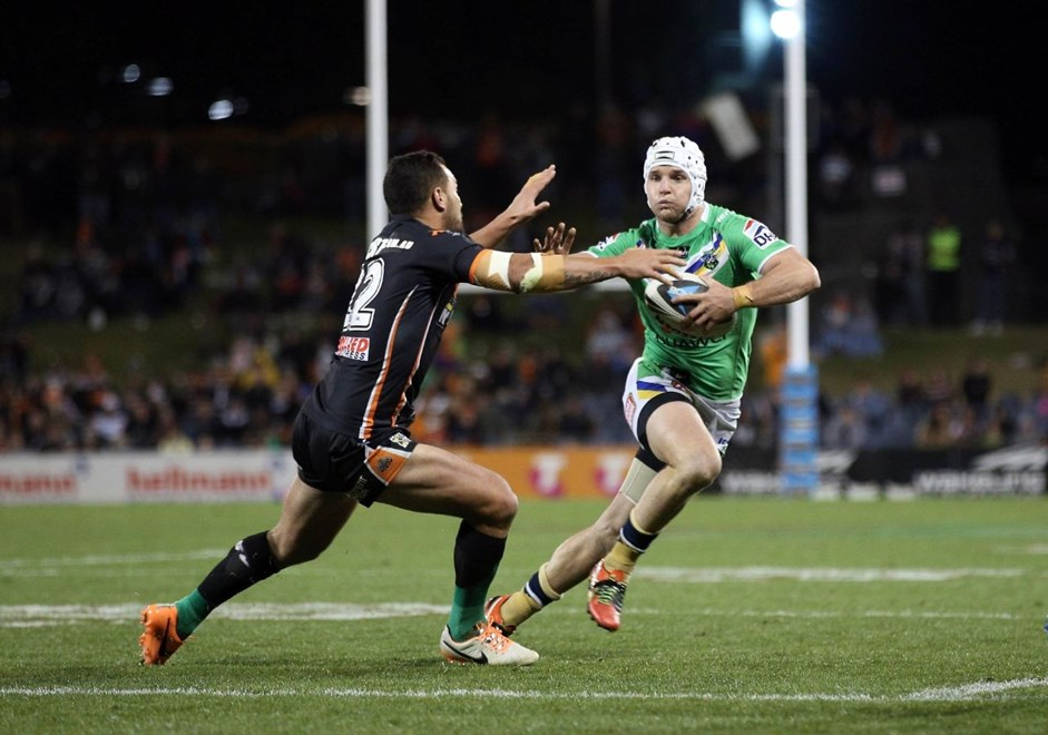 Digital Pic by Robb Cox © NRLPhotos.com: Jarrod Croker  : NRL Rugby League, Wests Tigers V Canberra Raiders at Campbelltown Stadium, Saturday the 28th of June 2014.