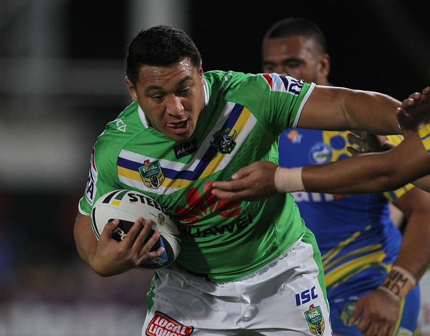 Photo by Colin Whelan copyright © nrlphotos.com :       Josh Papalii on the burst                        NRL Rugby League, Round 22 Parramatta Eels v Canberra Raiders at TIO Stadium, Darwin, Saturday August 9th 2014