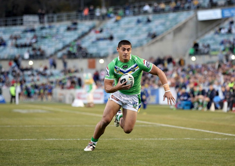 Digital Image by Robb Cox ©nrlphotos.com: Jeremy Hawkins :NRL Rugby League - Round 26, Canberra Raiders V Parramatta Eels at GIO Stadium, Saturday September 6th 2014.