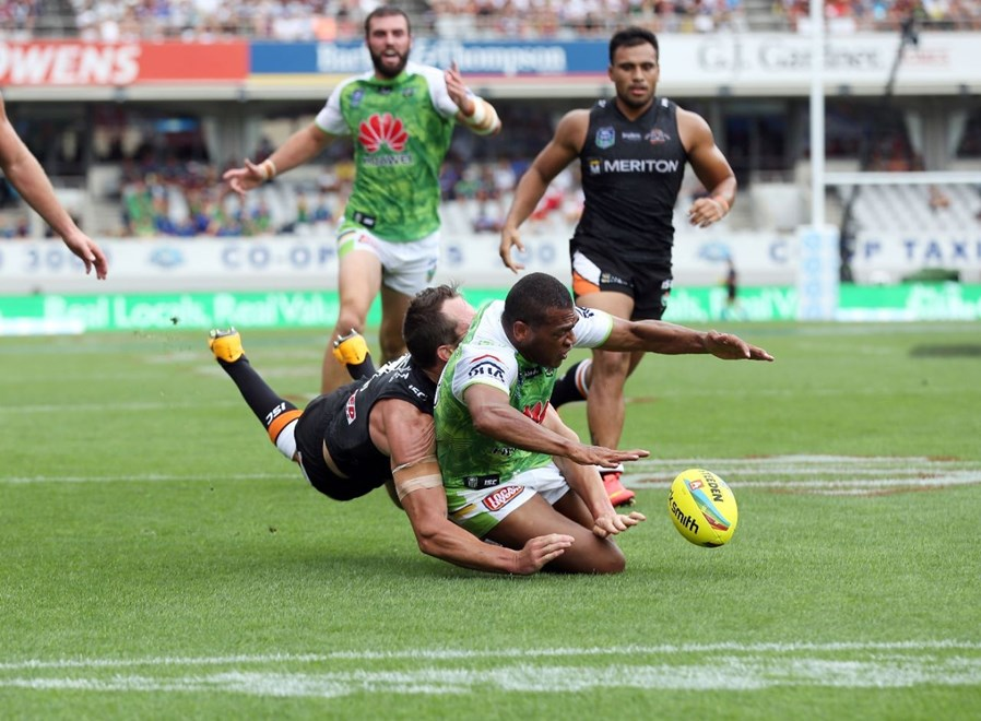 Ken Nagas is tackled without the ball during the Tigers V Raiders Auckland 9s match at Eden Park. Pic by Robb Cox © NRL Phots