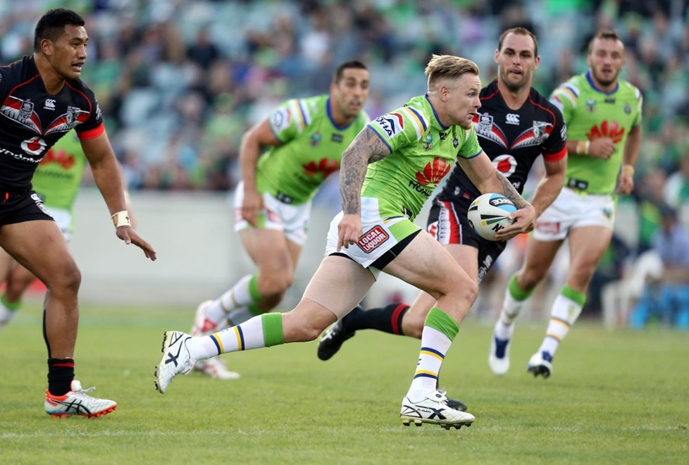 Blake Austin caught Thompson :Digital Image by Grant Trouvile © NRLphotos  : 2015 NRL Round 2 - Canberra Raiders v NZ Warriors  at Canberra Stadium, Sunday March 15th 2015.
