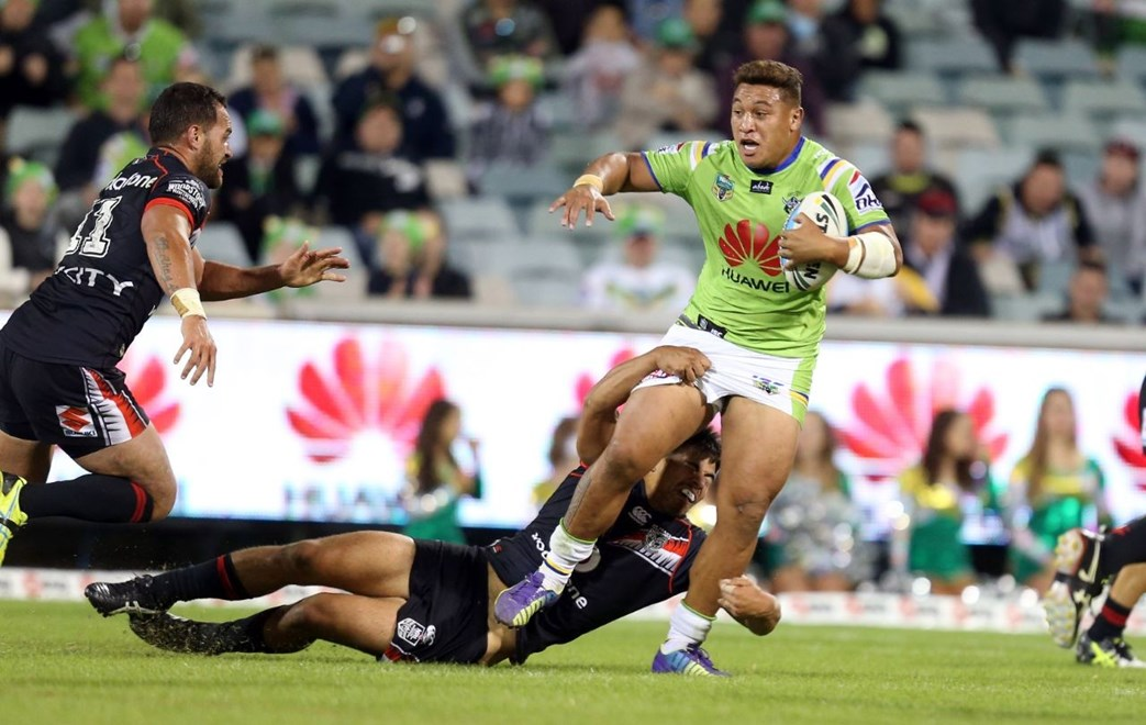 Josh Papalii makes a break   :Digital Image by Grant Trouvile © NRLphotos  : 2015 NRL Round 2 - Canberra Raiders v NZ Warriors  at Canberra Stadium, Sunday March 15th 2015.