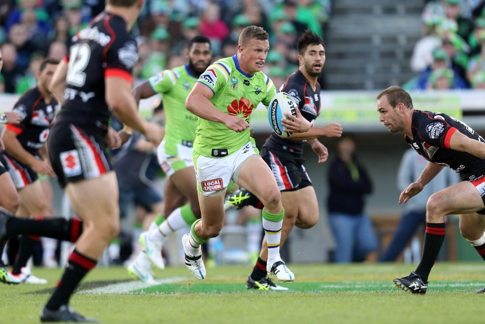 JAck Wighton attacks :Digital Image by Grant Trouvile © NRLphotos  : 2015 NRL Round 2 - Canberra Raiders v NZ Warriors  at Canberra Stadium, Sunday March 15th 2015.