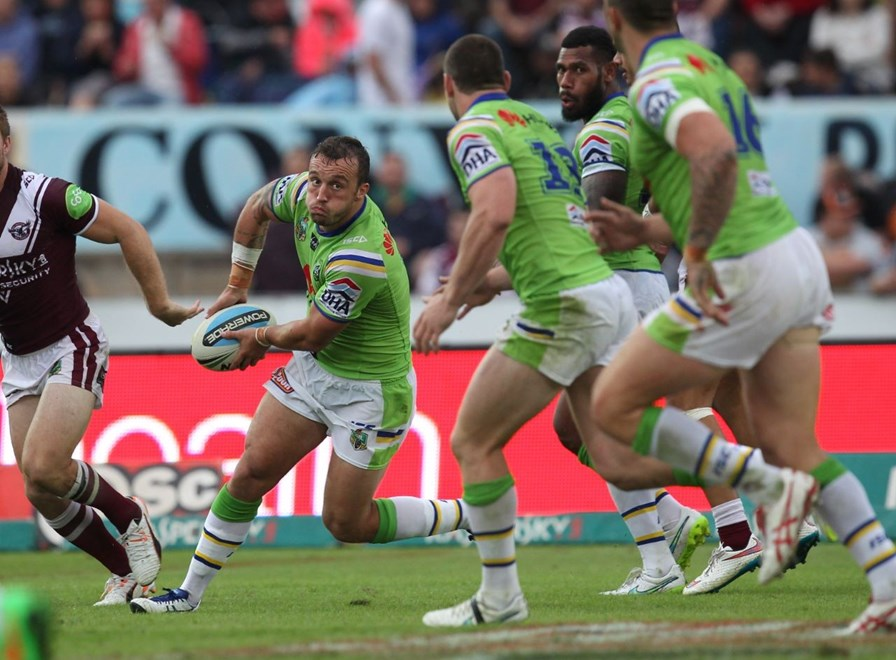 :	Digital Image by Colin Whelan copyright © nriphotos.    Josh Hodgson                     NRL Rugby League, Manly Warringah Sea Eagles v Canberra Raiders at Lavington Sports Ground, Saturday April 4th 2015.