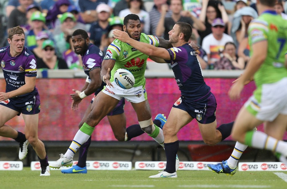 Sisa Waqa offloads : Digital Image Grant Trouville  © nrlphotos : NRL Rugby League - Round 6 : Canberra Raiders v Melbourne Storm at Canberra Stadium Sunday April 12th 2015.