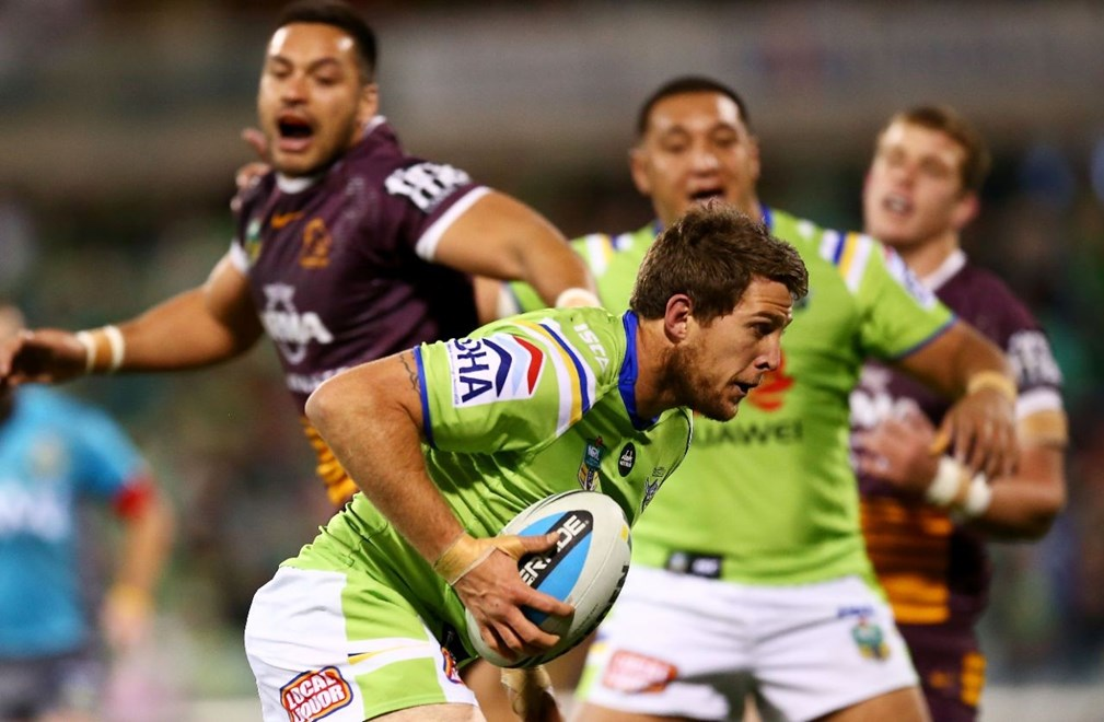 Jarrad Kennedy of the Raiders heads to th try line during the round 12 NRL match between the Canberra Raiders and the Brisbane Broncos at GIO Stadium on May 30, 2015 in Canberra, Australia. Digital Image by Mark Nolan.