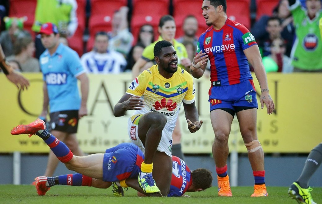 Edrick Lee : Digital Image by Chris Lane nrlphotos.com : : NRL - Newcastle  V Canberra at Hunter Stadium, Saturday June 6th 2015.