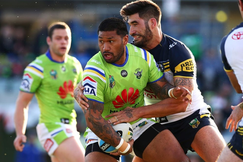 during the round 15 NRL match between the Canberra Raiders and the North Queensland Cowboys at GIO Stadium, in Canberra, Australia. Digital IMage by Mark Nolan