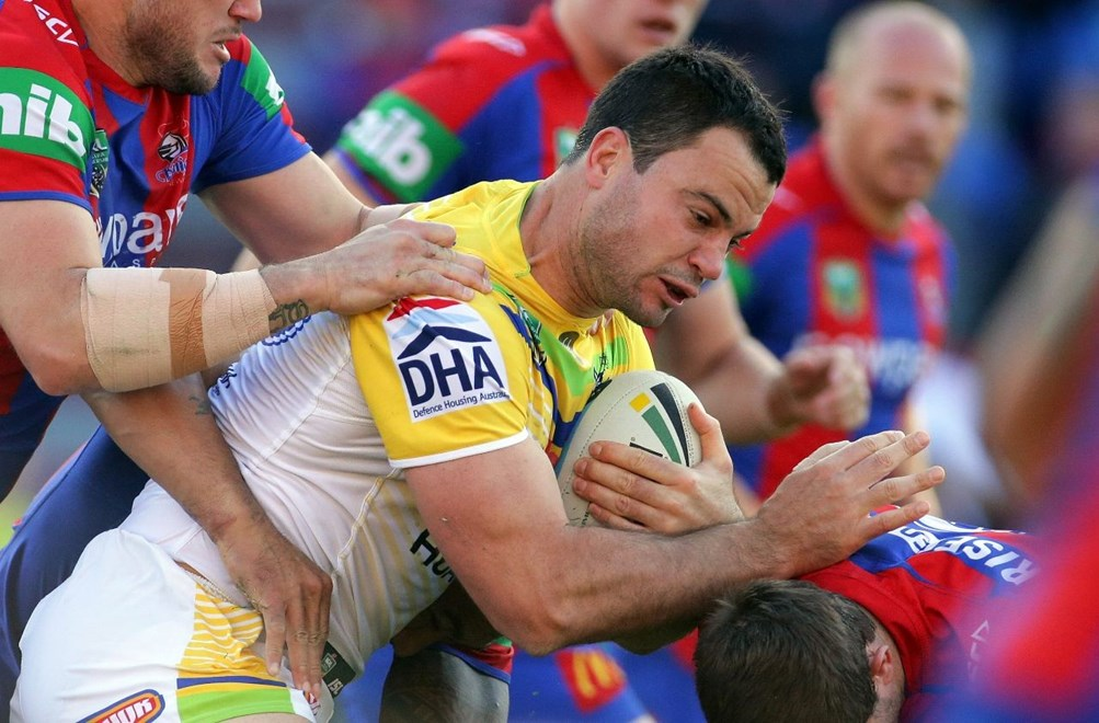 David Shillington : Digital Image by Chris Lane nrlphotos.com : : NRL - Newcastle  V Canberra at Hunter Stadium, Saturday June 6th 2015.