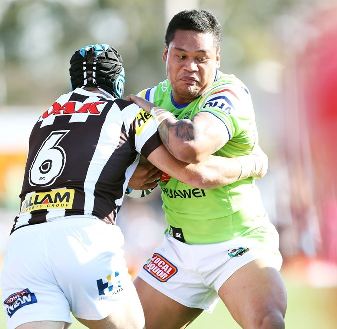 Joey Leilua : NRL Rugby League - Panthers V Raiders at Pepper Stadium, Sunday July 26th 2015. Digital Image by Robb Cox ©nrlphotos.com