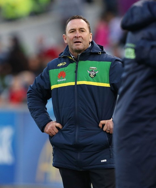 Ricky Stuart : NRL Rugby League - Raiders V Sharks at GIO Stadium, Saturday July 18th 2015. Digital Image by Robb Cox ©nrlphotos.com