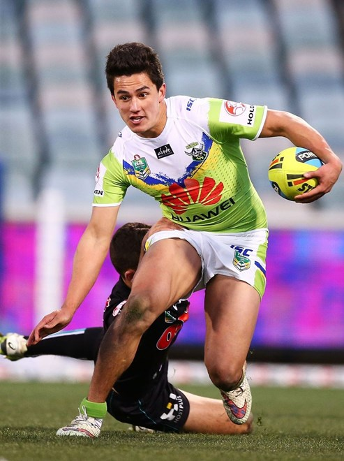 during the Round 25 NRL match between the Canberra Raiders and the Penrith Panthers at GIO Stadium on August 31, 2015 in Canberra, Australia. Digital Image by Mark Nolan.