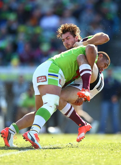 Kieran Foran of the Eagles during the Round 23 NRL match between the Canberra Raiders and the Manly Warringah Sea Eagles at GIO Stadium on August 16, 2015 in Canberra, Australia. Digital Image by Mark Nolan.
