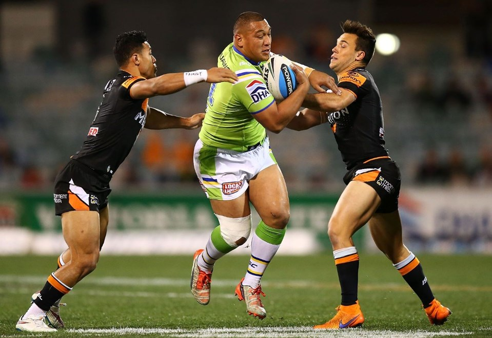 Josh Papalii of the Raiders during the Round 22 NRL match between the Canberra Raiders and Wests Tigers at GIO Stadium on August 10, 2015 in Canberra, Australia. Digital Image by Mark Nolan.