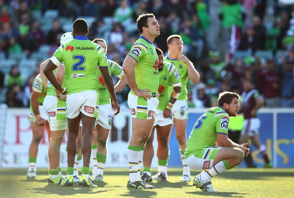 during the Round 23 NRL match between the Canberra Raiders and the Manly Warringah Sea Eagles at GIO Stadium on August 16, 2015 in Canberra, Australia. Digital Image by Mark Nolan.