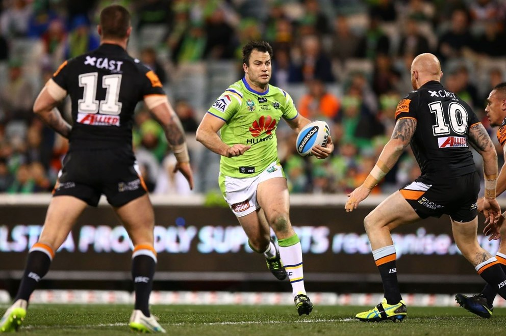 David Shillington of the Raiders during the Round 22 NRL match between the Canberra Raiders and Wests Tigers at GIO Stadium on August 10, 2015 in Canberra, Australia. Digital Image by Mark Nolan.