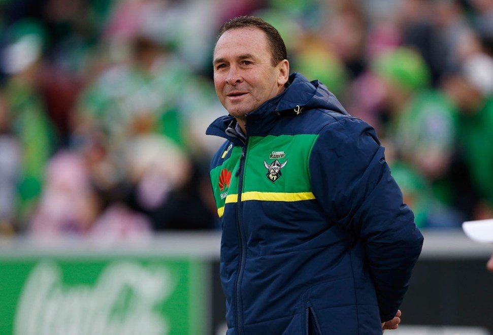Ricky Stuart : Digital Image by Robb Cox ©nrlphotos.com: :NRL Rugby League - Canberra Raiders V Gold Coast Titans at GIO Stadium, Saturday May 9th 2015.