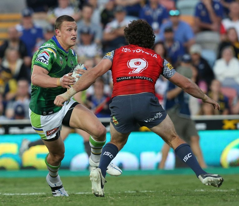 Jack Wighton  : Digital Image by Charles Knight copyright © NRLphotos. NRL Rugby League, North Queensland Cowboys v Canberra Raiders at 1300 Stadium, Townsville, August 1st, 2015.
