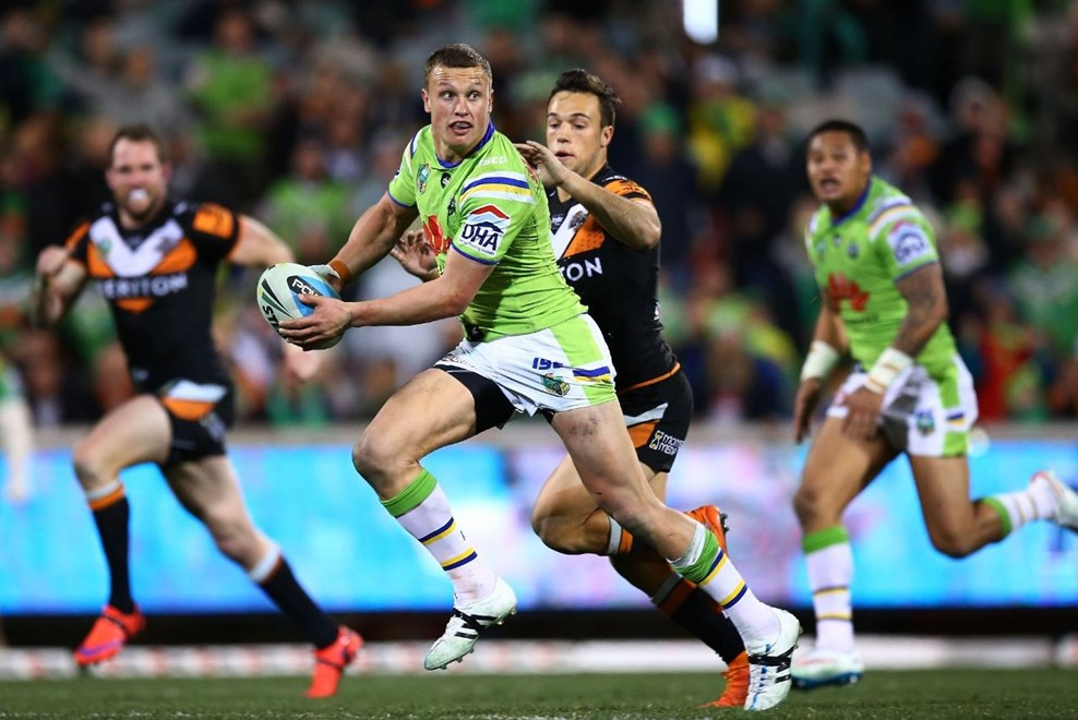 Jack Wighton of Raiders during the Round 22 NRL match between the Canberra Raiders and Wests Tigers at GIO Stadium on August 10, 2015 in Canberra, Australia. Digital Image by Mark Nolan.