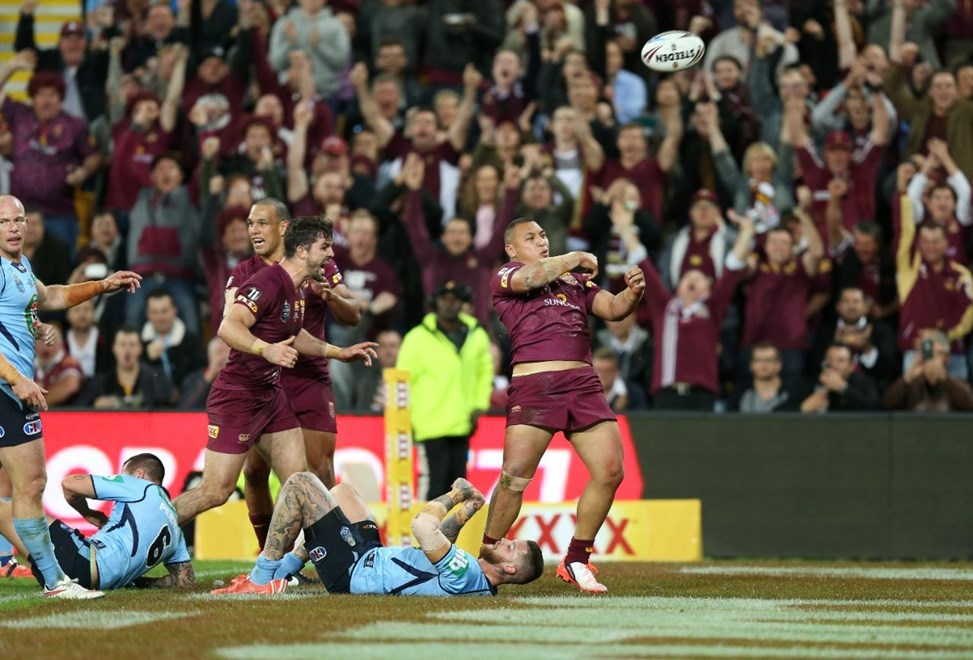 Josh Papalii scores  :Digital Image Grant Trouville © NRLphotos  : NRL Rugby League - State Of Origin  - Game 3 at Suncorp Stadium, July 8th Brisbane   2015.