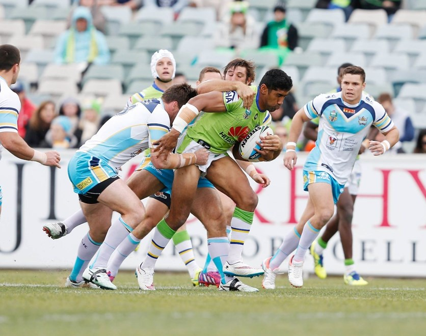 Sia Soliola  : Digital Image by Robb Cox ©nrlphotos.com: :NRL Rugby League - Canberra Raiders V Gold Coast Titans at GIO Stadium, Saturday May 9th 2015.