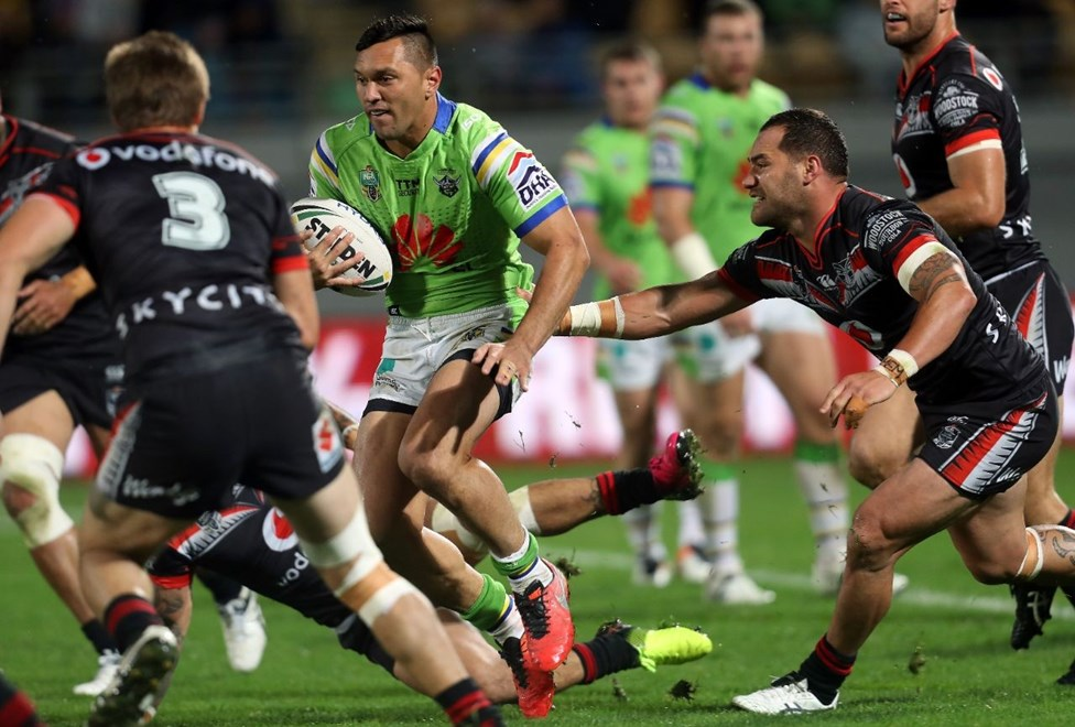 Competition - NRL Premiership Round - Round 11 Teams – NZ Warriors v Canberra Raiders Date – 21st of May 2016 Venue – Yarrow Stadium, New Plymouth, NZ Photographer – Shane Wenzlick