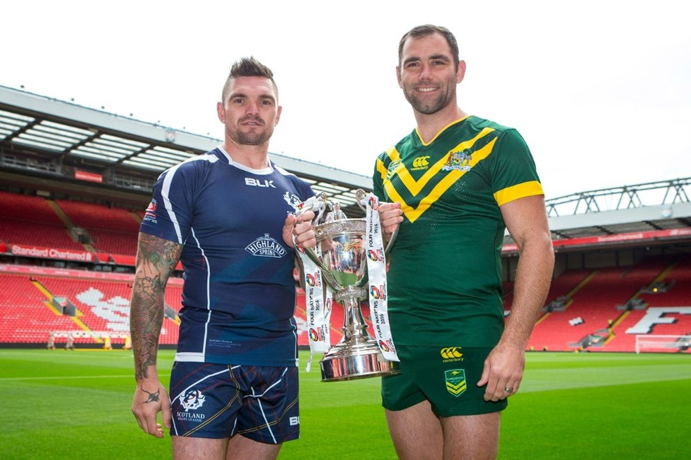 Picture by Alex Whitehead/SWpix.com - 24/10/16 - Rugby League - 2016 Ladbrokes Four Nations Launch - Anfield, Liverpool, England - Scotland's Danny Brough and Australia's Cameron Smith.
