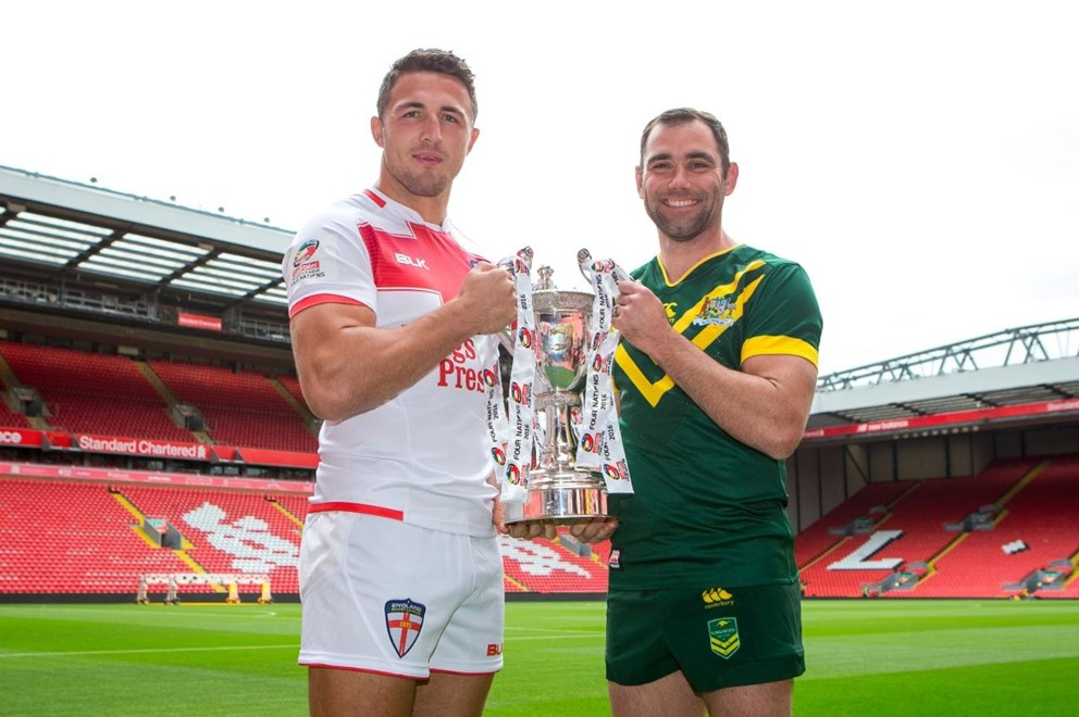 Picture by Alex Whitehead/SWpix.com - 24/10/16 - Rugby League - 2016 Ladbrokes Four Nations Launch - Anfield, Liverpool, England - England's Sam Burgess and Australia's Cameron Smith.