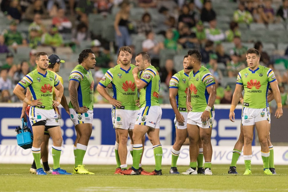 11 MARCH 2017 - Australian National Rugby League (NRL) Round 2 - Canberra Raiders vs Cronulla Sharks. Match was played on a Saturday evening at GIO Stadium
