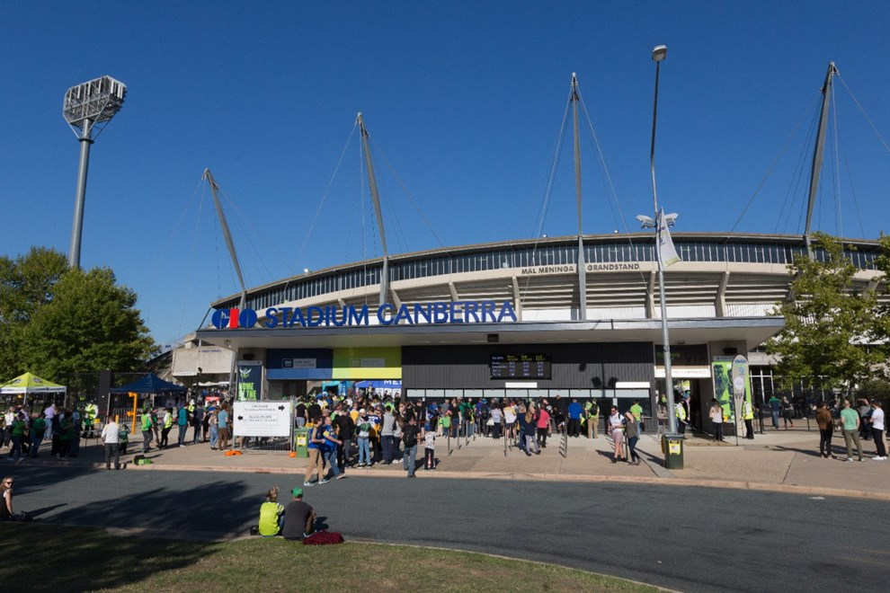 Front entrance of GIO Stadium (western side) - 1 APRIL 2017 - Australian National Rugby League (NRL) Round 5 - Canberra Raiders vs Parramatta Eels. Match was played on a Saturday evening at GIO Stadium