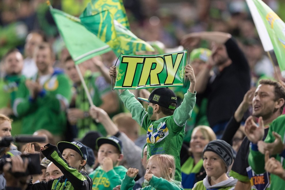 Raiders fans in the crowd - 21 APRIL 2017 - Australian National Rugby League (NRL) Round 8 - Canberra Raiders vs Manly Warringah sea Eagles. Match was played on a Friday evening at GIO Stadium