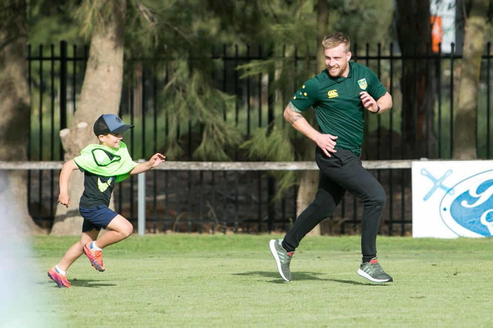 Canberra, Australia - October 30 : Ruby League World Cup - Kangaroos Coaching Clinic   on October  30 2017 in Canberra Australia   Photo: Keegan Carroll / NRLPhotos.com