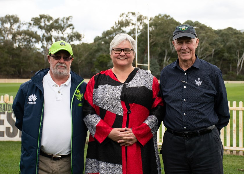 New Canberra Raiders Director Katrina Fanning with current Chairman Dr Allan Hawke and former Chairman and Club Patron John McIntyre