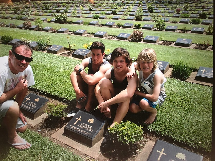 Tom Starling (second from right) and his family visiting William John Starling's grave in Thailand.