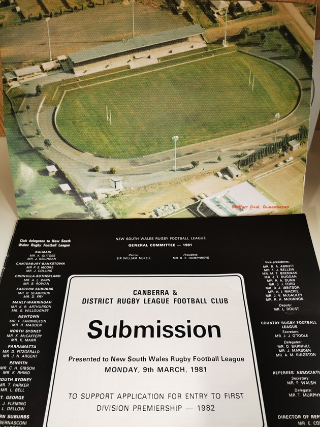 A copy of the original submission document which was presented in March 1981 to the NSWRL to help get Canberra into the competition.