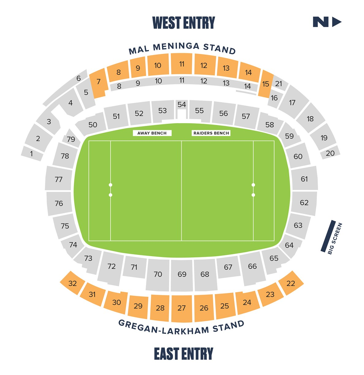 Gold Grandstand seating map